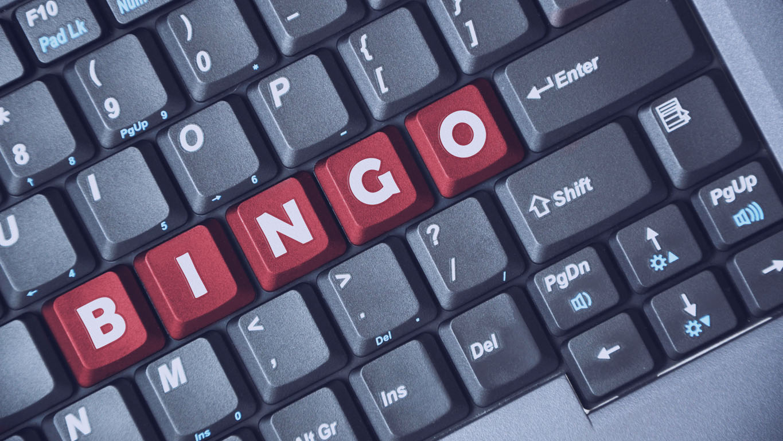 Tecla vermelha de bingo no teclado